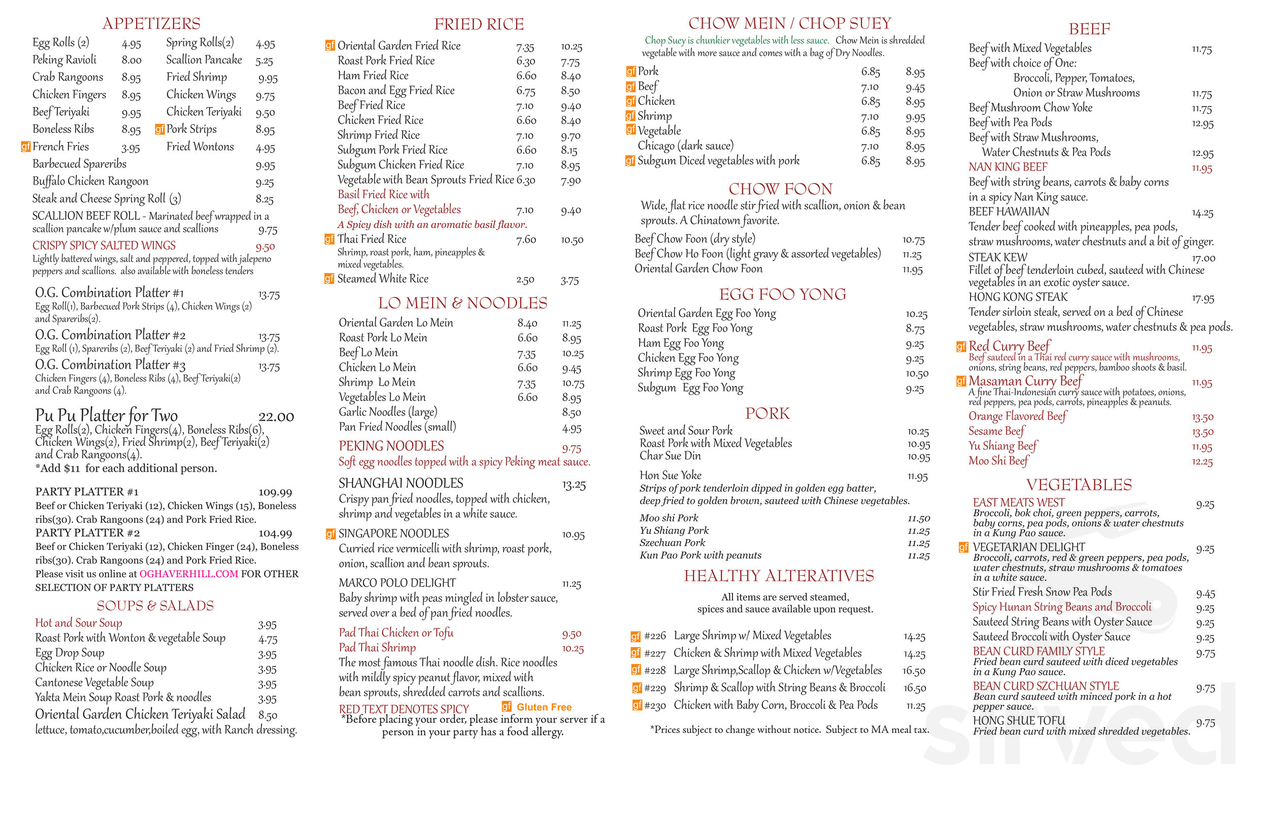 menu for oriental garden in haverhill, massachusetts, usa