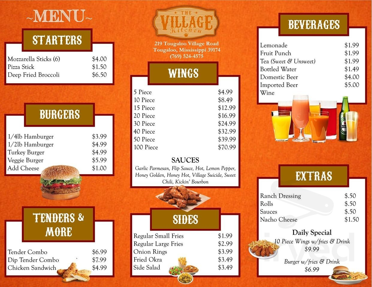 Menu For The Village Kitchen In Jackson Mississippi Usa