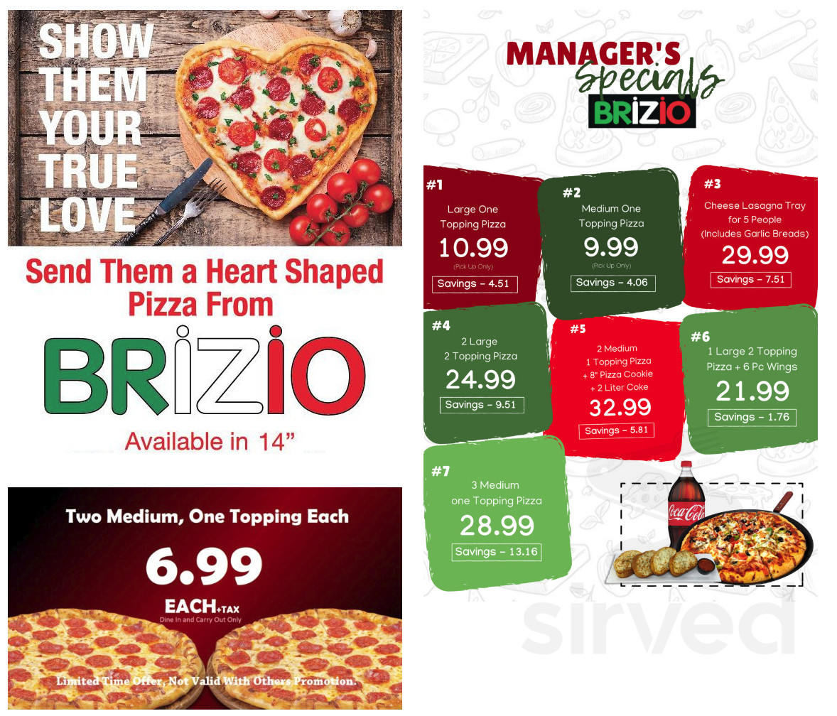 Brizio S Pizza Menu In Santa Ana California Usa