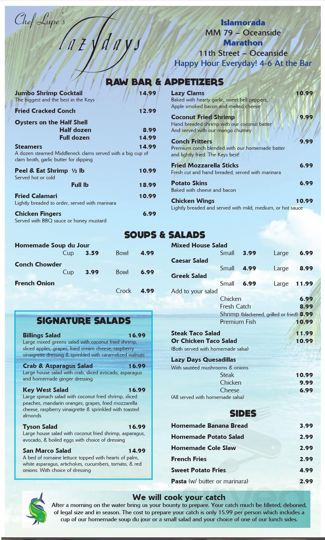 Lazy Days South menu in Marathon, Florida, USA