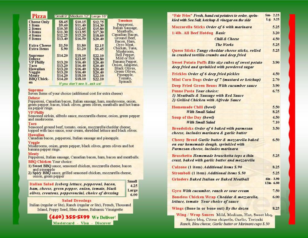 Menu for LaGrange Village Pizza in Lagrange, Ohio, USA