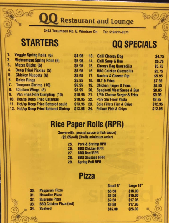 Qq Restaurant And Lounge Menu In Windsor Ontario Canada