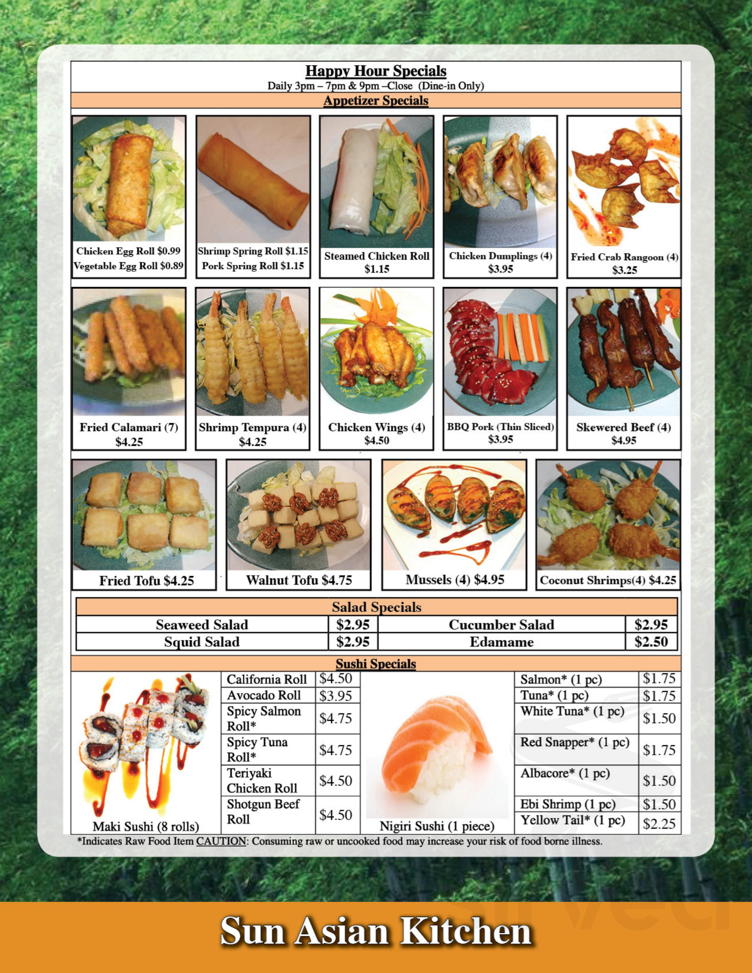 Menu For Sun Asian Kitchen In Phoenix Arizona Usa