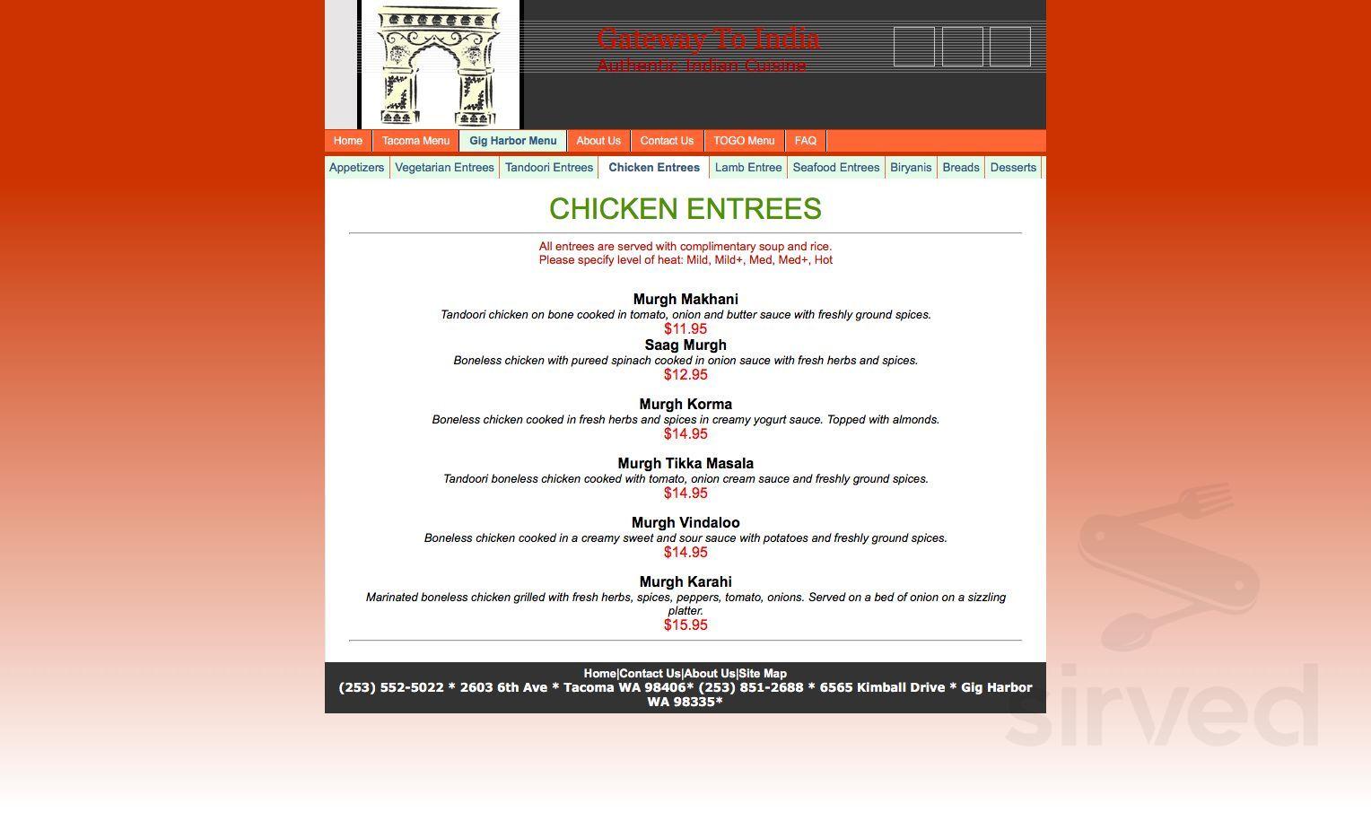 Menu For Gateway To India Restaurant In Gig Harbor Washington