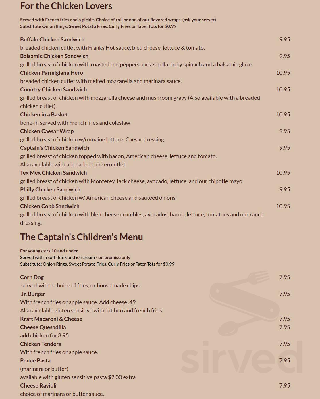 Menu For Captain S Table In Monroe New York Usa