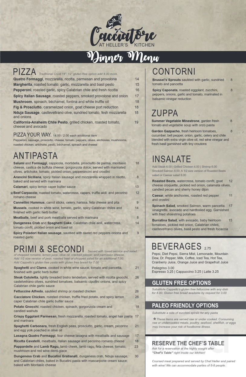 Cacciatore At Heller S Kitchen Fort Collins Menu In Fort Collins Colorado Usa