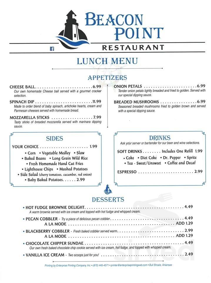 Menu For Beacon Point Restaurant In Lakeview Arkansas