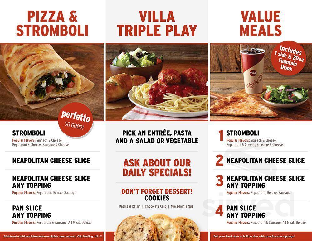 Villa Fresh Italian Kitchen Menu In Newark New Jersey Usa