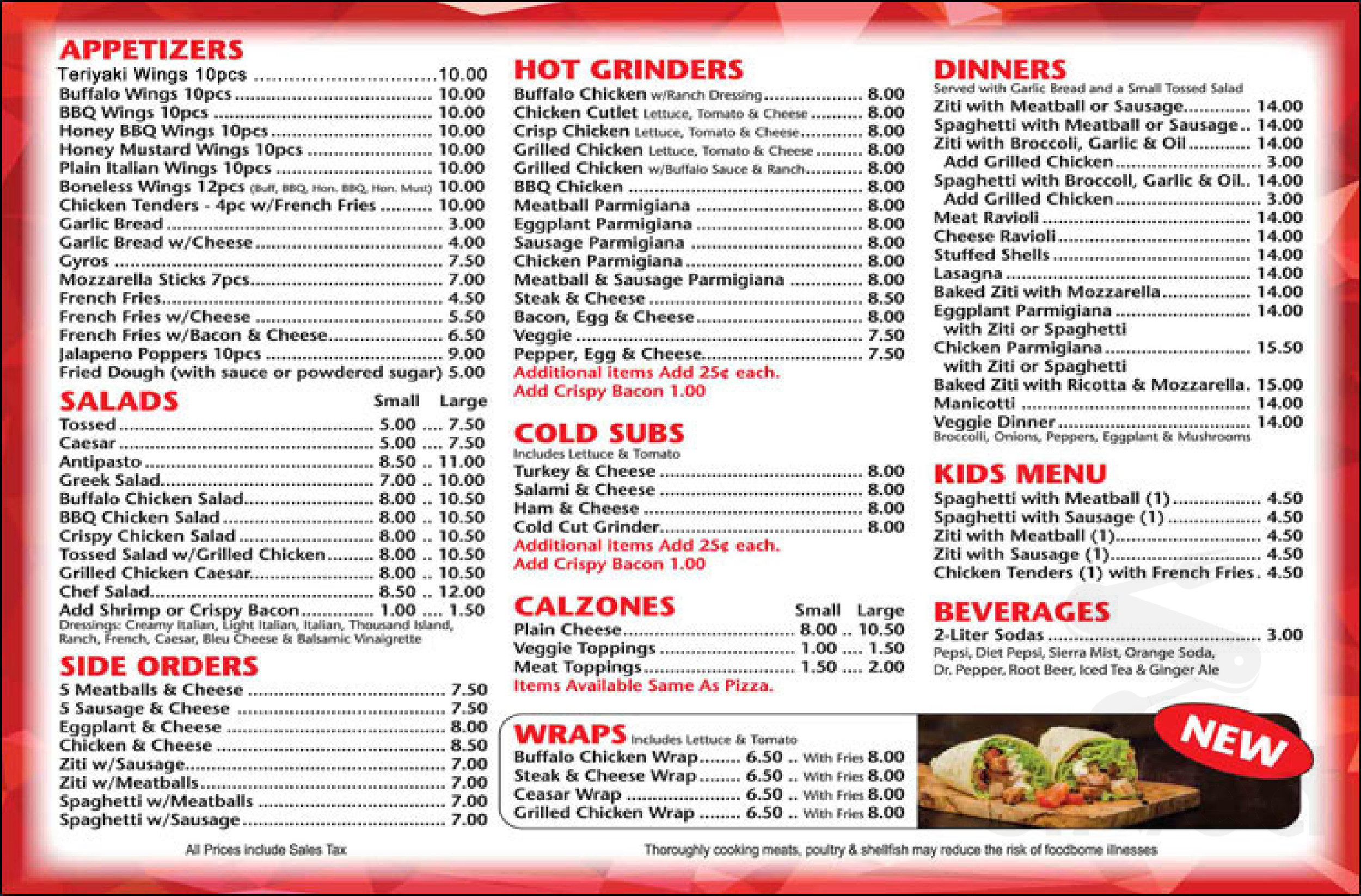 zanis pizza menu in ansonia connecticut usa
