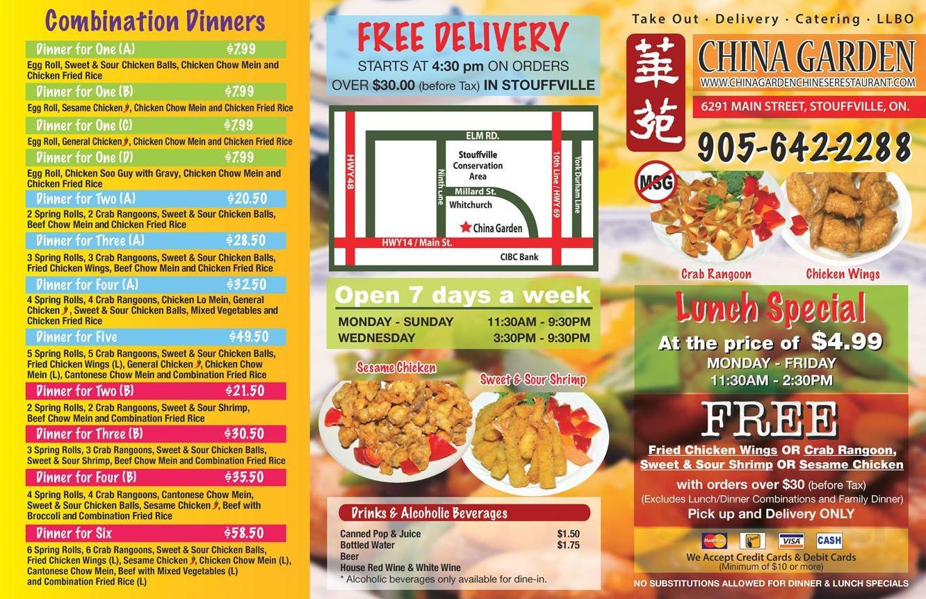 China Garden Chinese Restaurant Menu In Whitchurch Stouffville Ontario