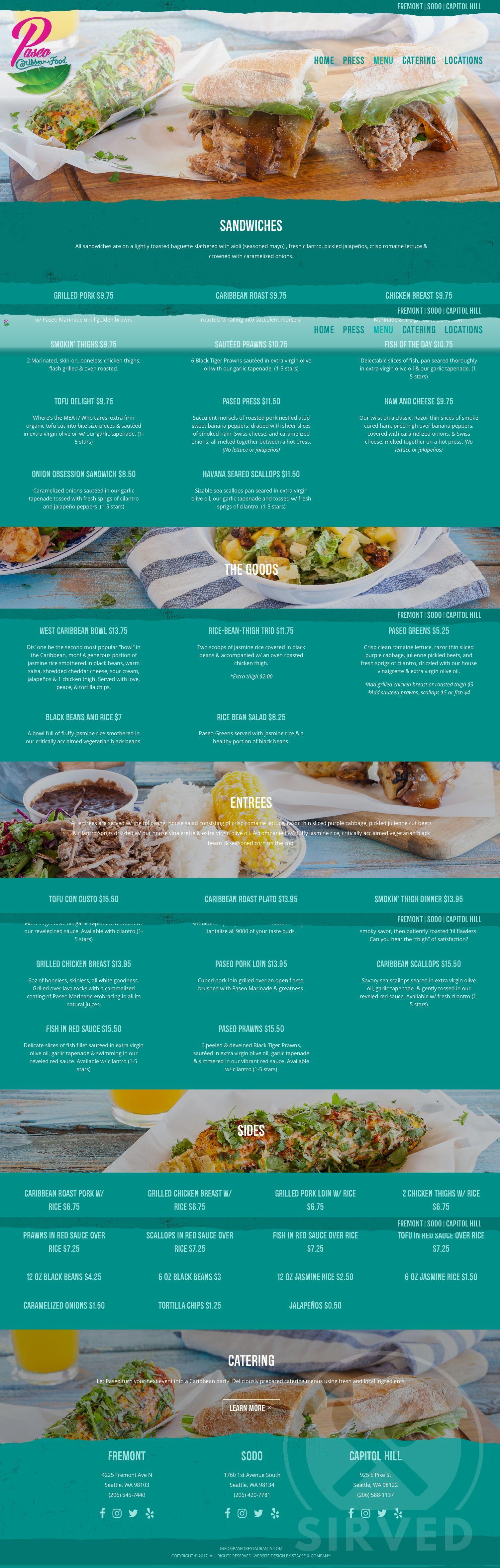 Menu For Paseo Caribbean Restaurant In Seattle Washington