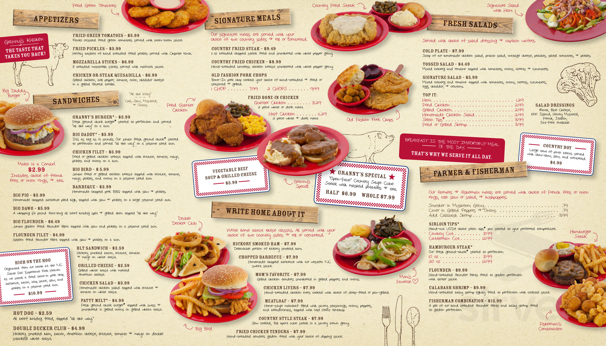 Menu For Granny S Country Kitchen In Claremont North Carolina
