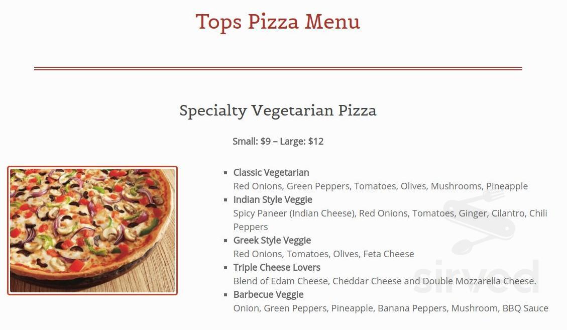 Tops Pizza Abbotsford Menu In Abbotsford British Columbia