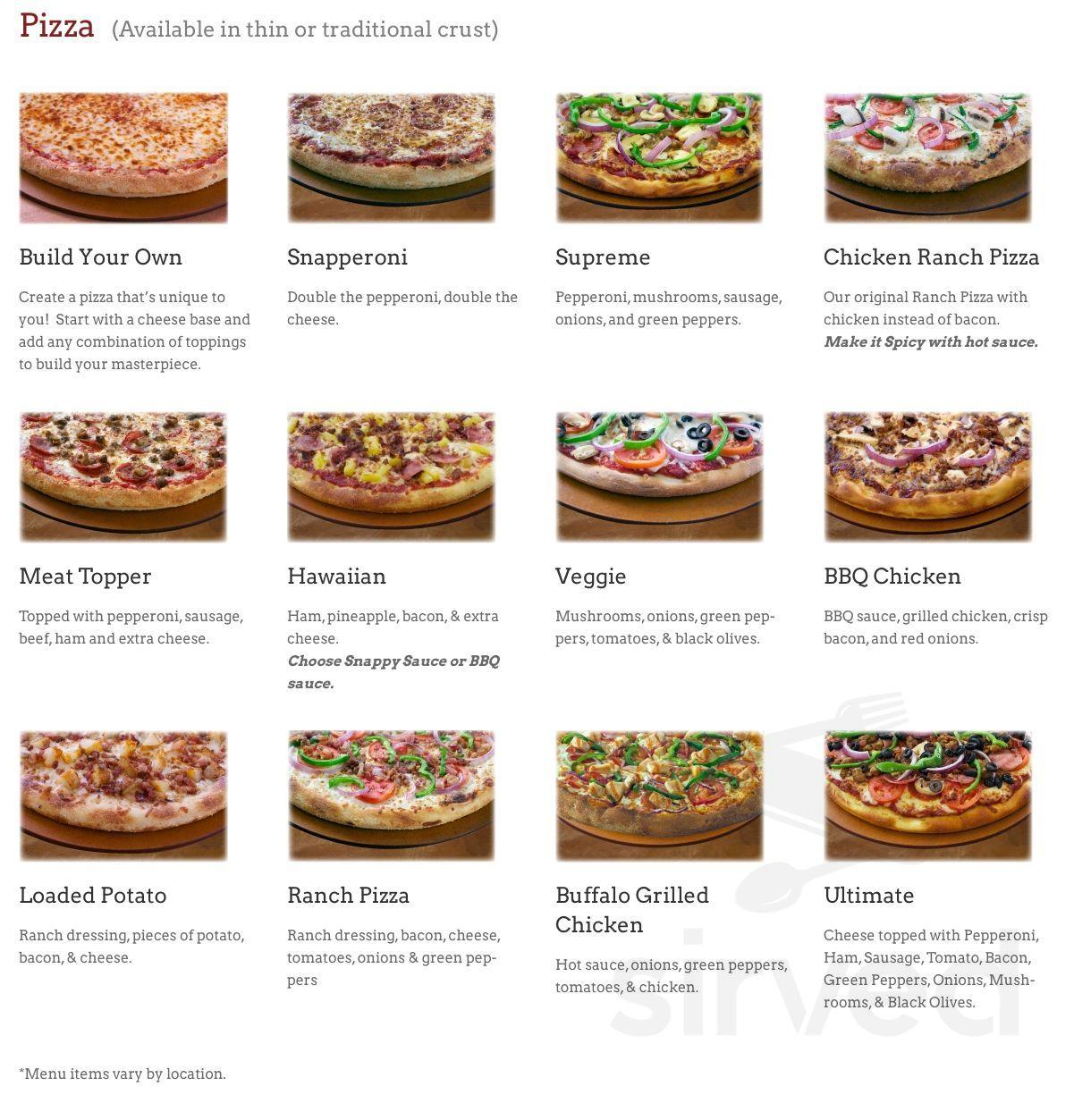 Snappy Tomato Pizza Menu In Fort Thomas Kentucky Usa
