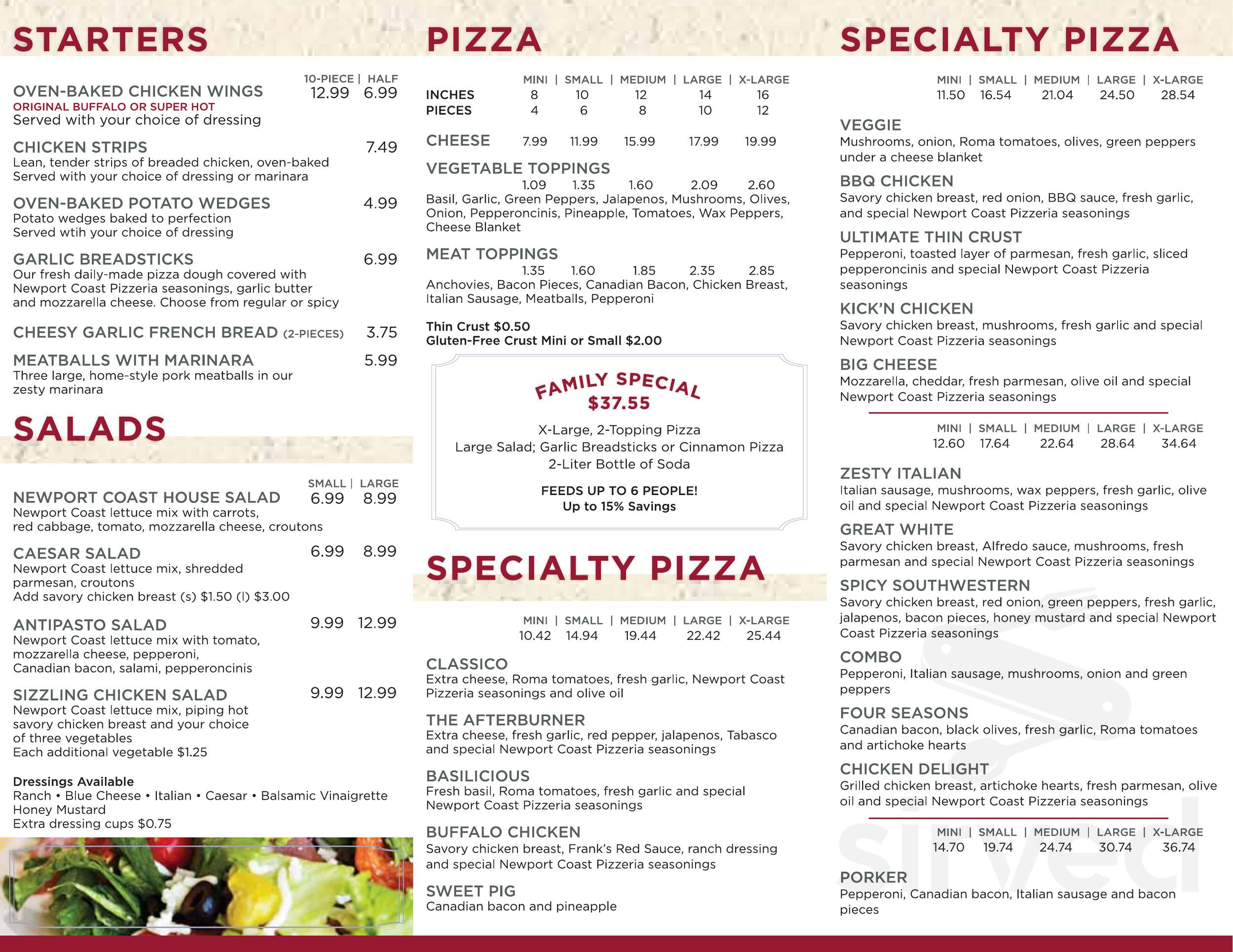 Menu For Newport Coast First Class Pizza In Newport Coast