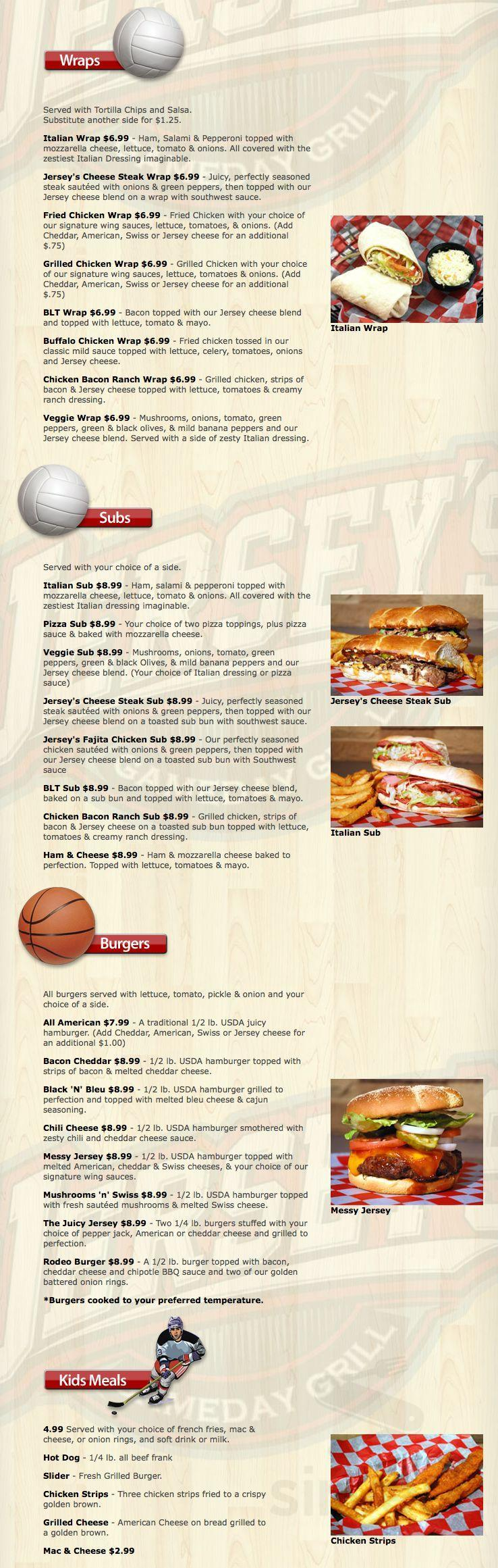 Jersey's Game Day Grill - Defiance menu in Defiance, Ohio, USA