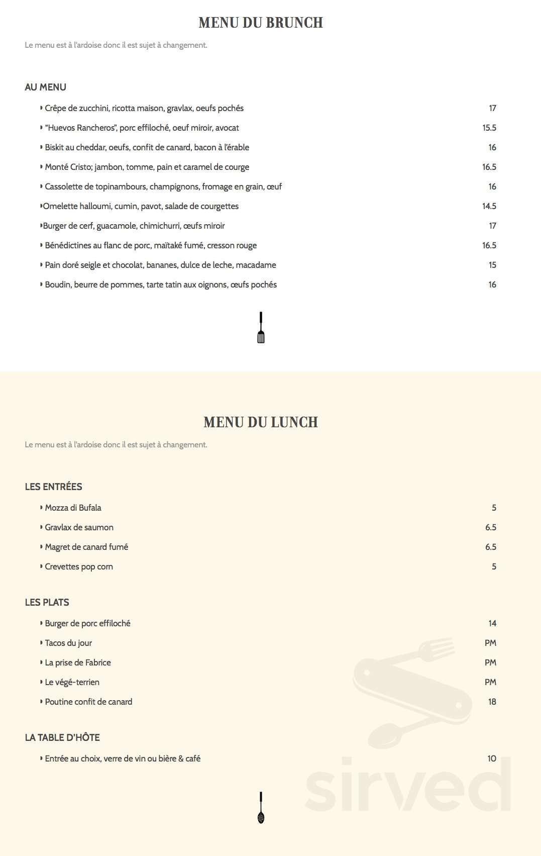 Menu for Les Affamés Café Traiteur in Montréal, Quebec