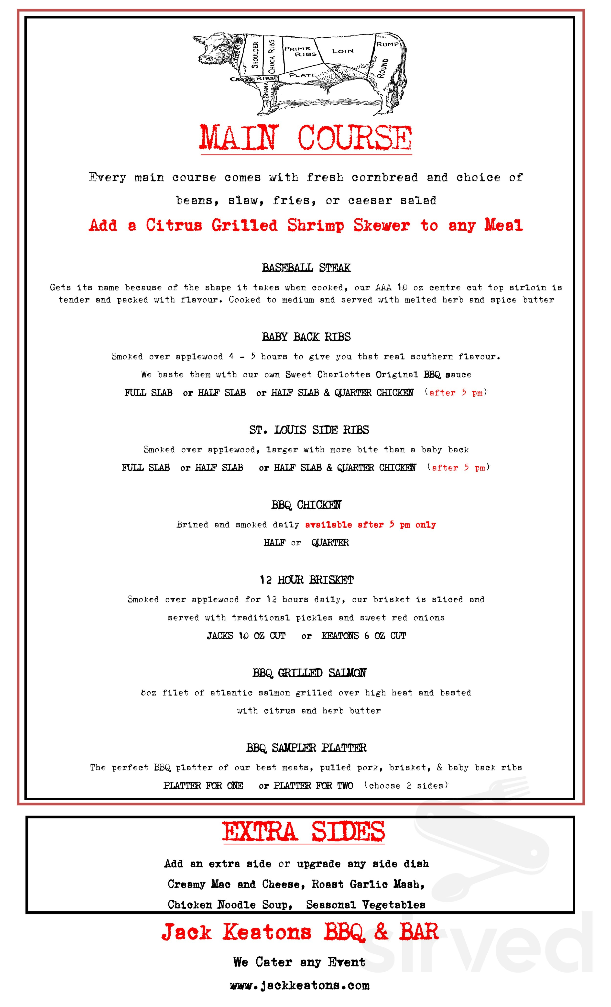 Menu for Jack Keaton's BBQ & BAR in Regina, Saskatchewan