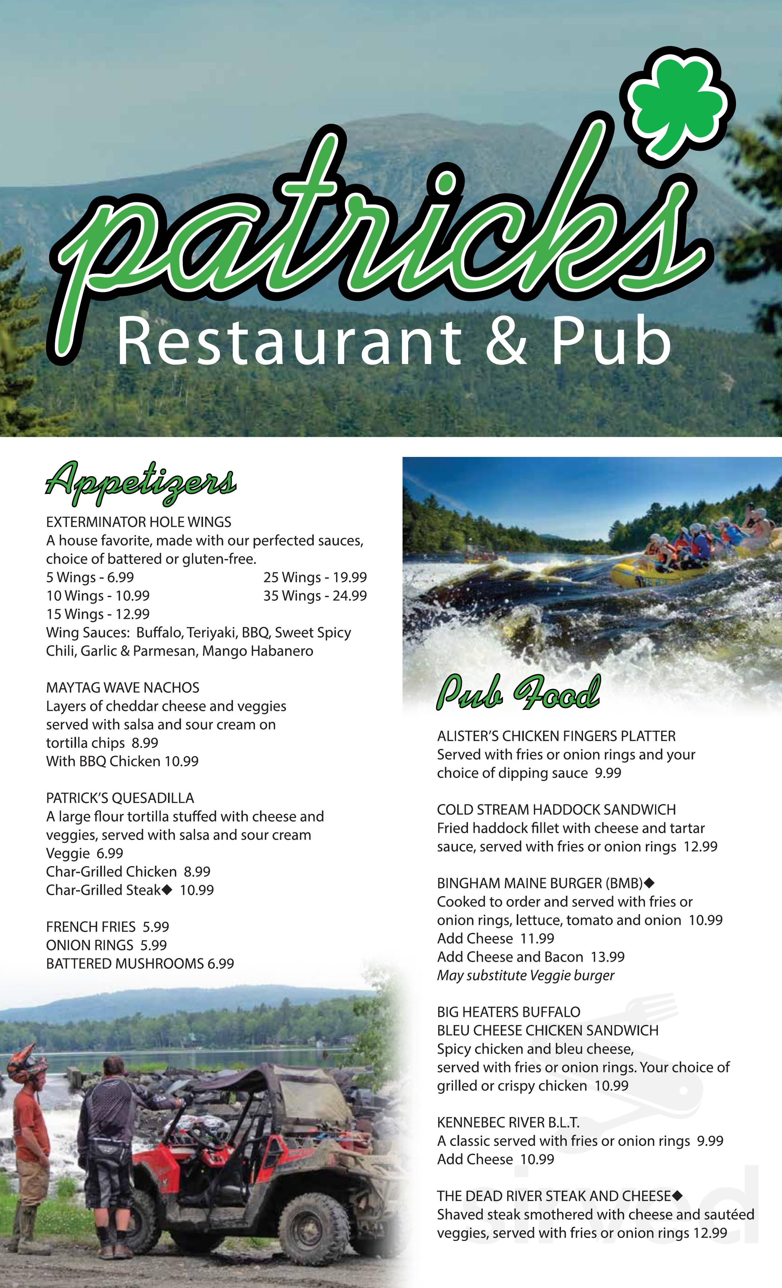 Patricks Restaurant Pub Menu In Bingham Maine Usa