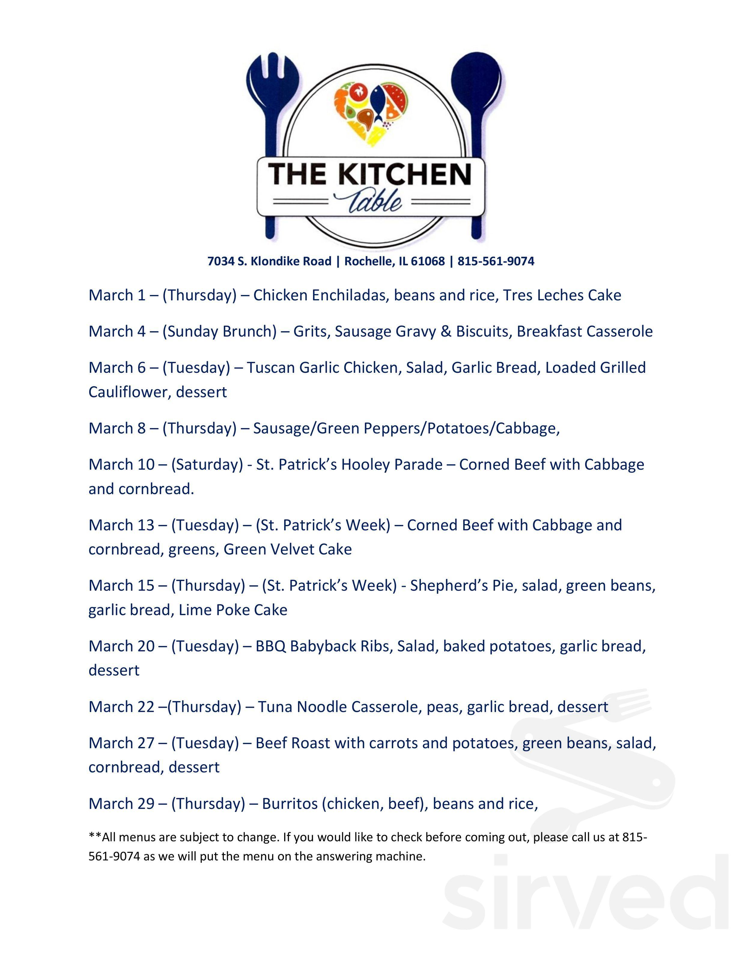 The Kitchen Table Inc Menu In Rochelle Illinois Usa