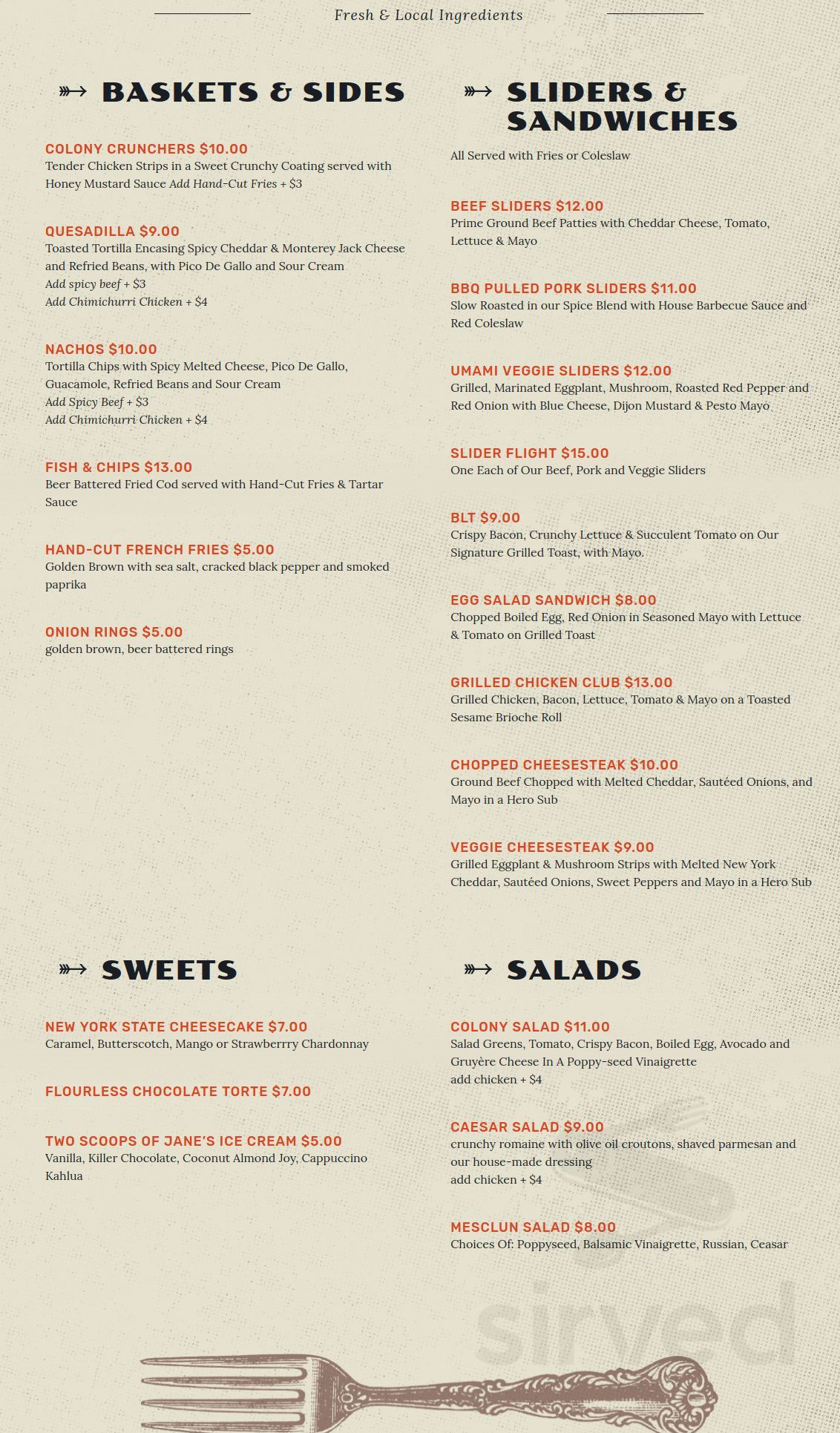 Menu for Colony in Woodstock, New York, USA