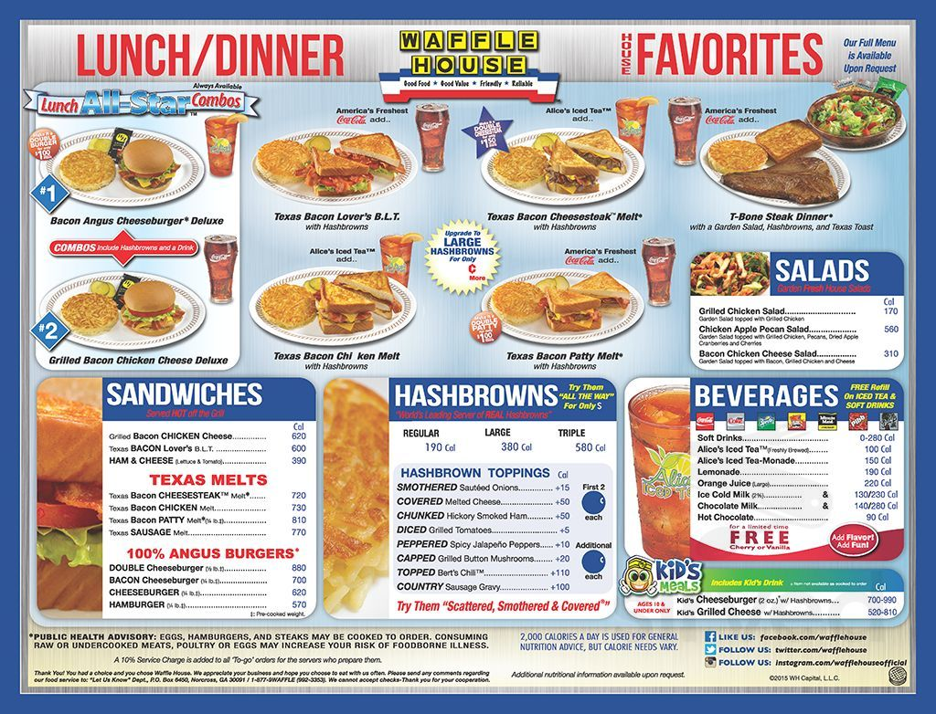 Waffle House Menu In Orangeburg South Carolina Usa