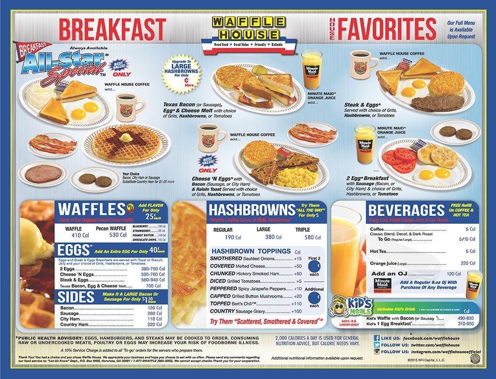 Waffle House Menu In Graham North Carolina Usa
