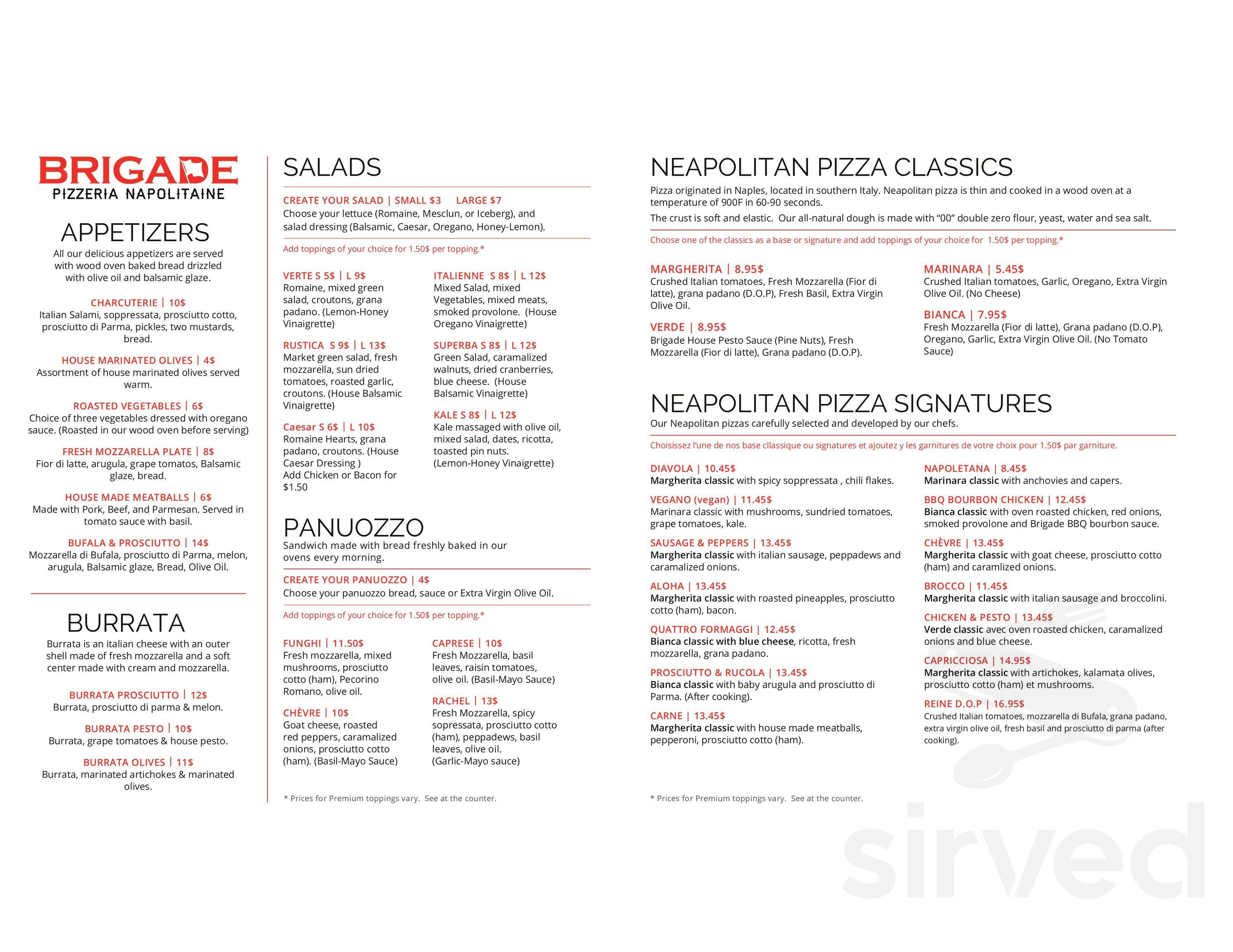 57967b5cee4 Menu for Brigade Pizzeria in Montréal
