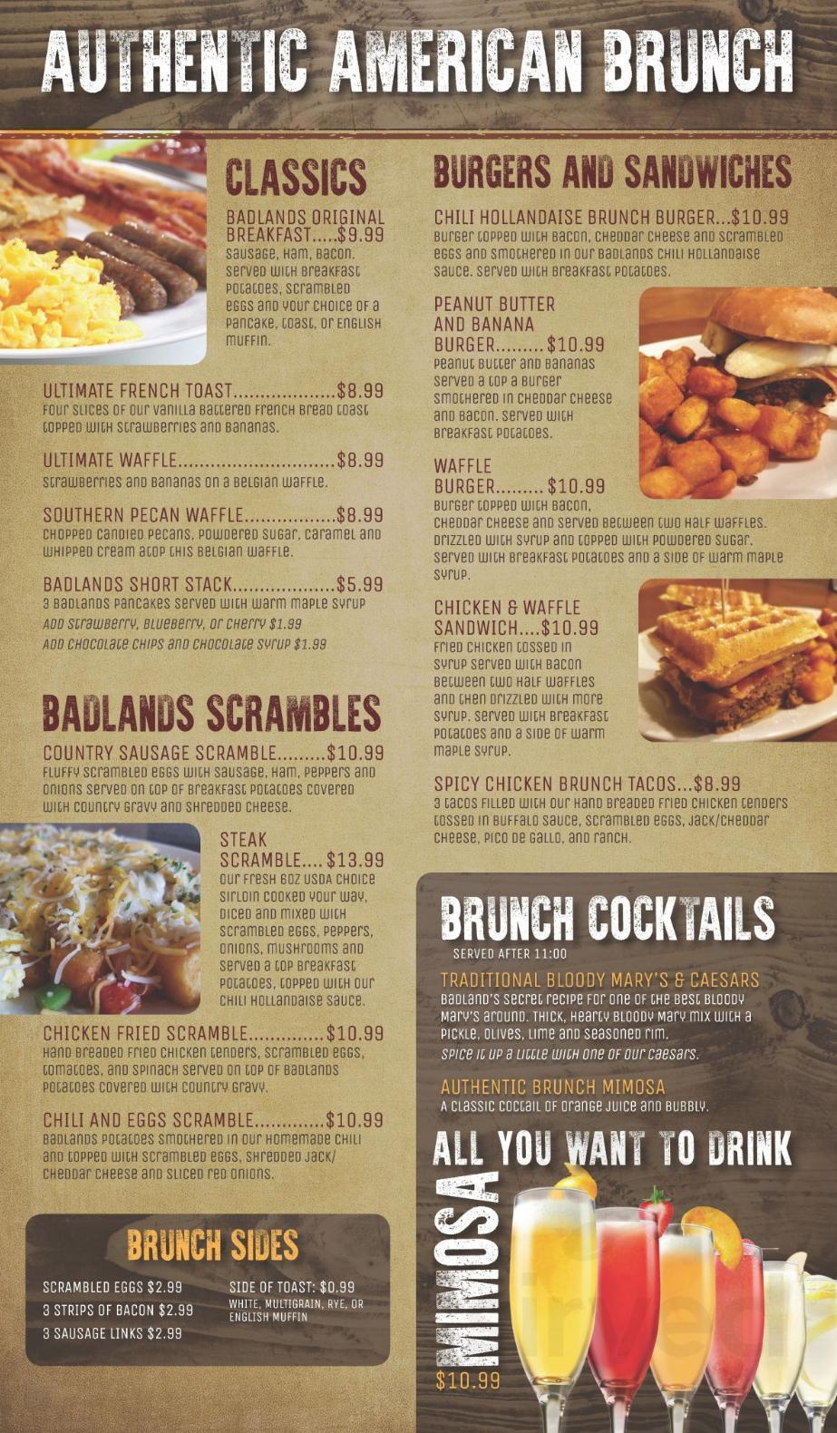 Menu For Badlands Restaurant Bar In Minot North Dakota