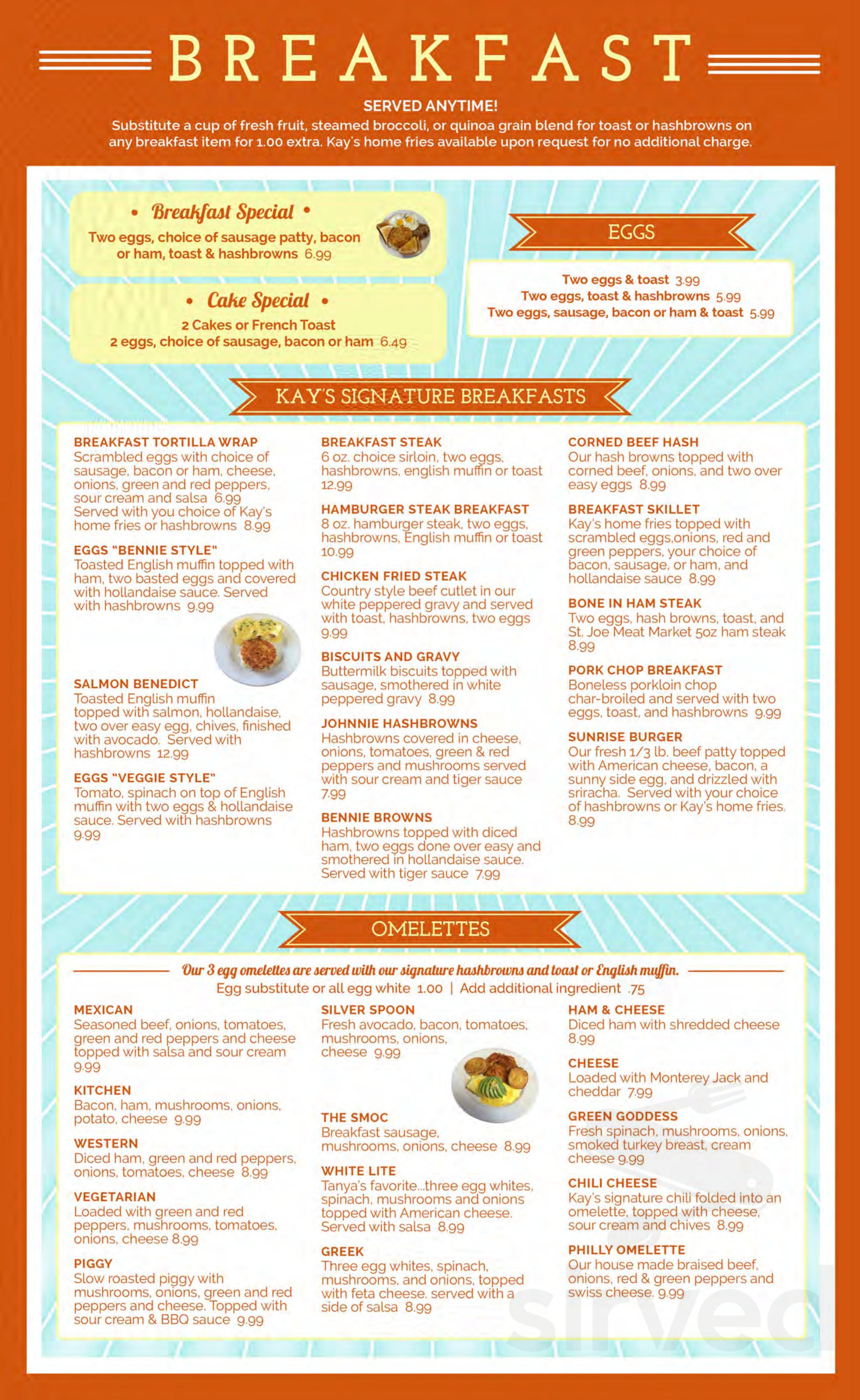 Menu For Kay S Kitchen In St Joseph Minnesota Usa