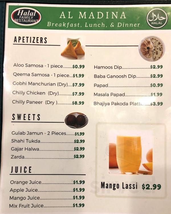Al Madina Halal Family Restaurant Menu In Las Vegas Nevada