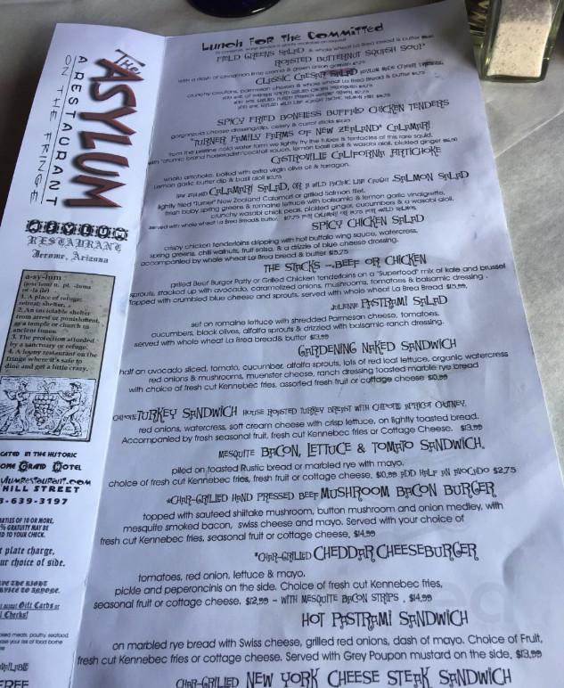 Menu For Asylum Restaurant In Jerome Arizona Usa