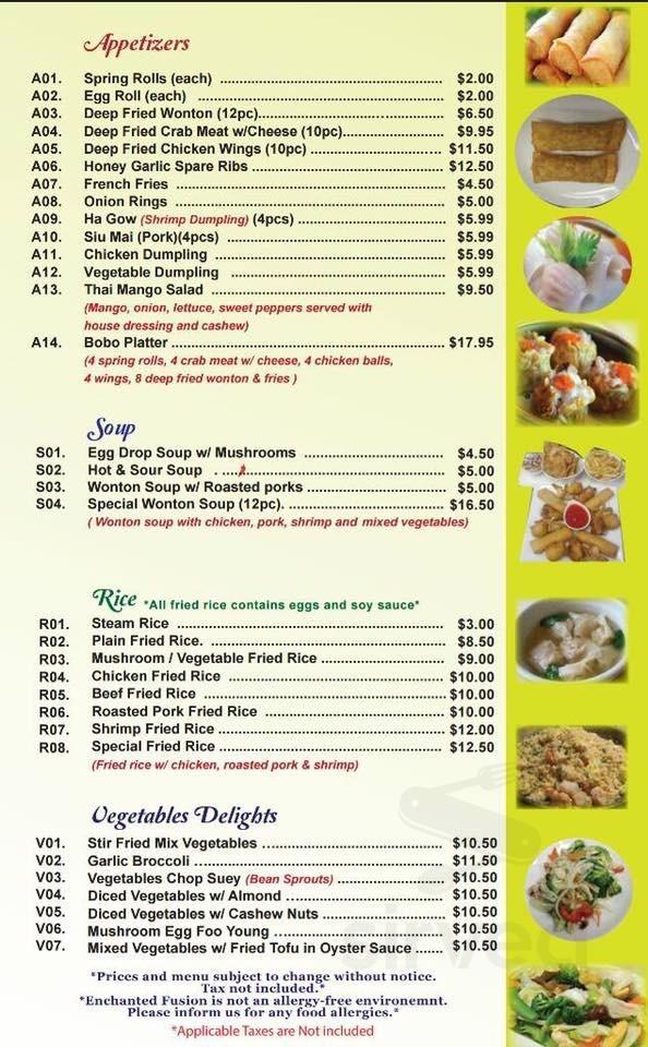 Menu For Enchanted Fusion Restaurant In Southampton Ontario