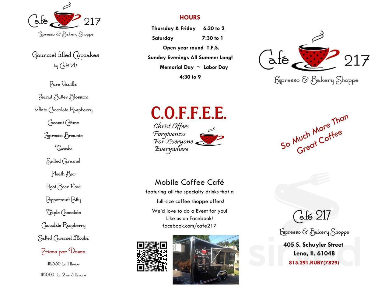 Menu For Cafe 217 Espresso Bakery Shoppe In Lena Illinois