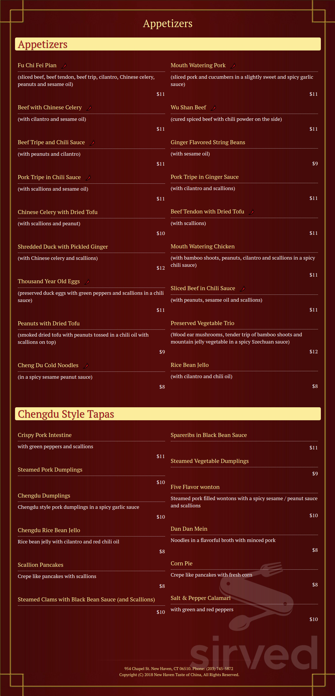 new haven's taste of china menu in new haven connecticut