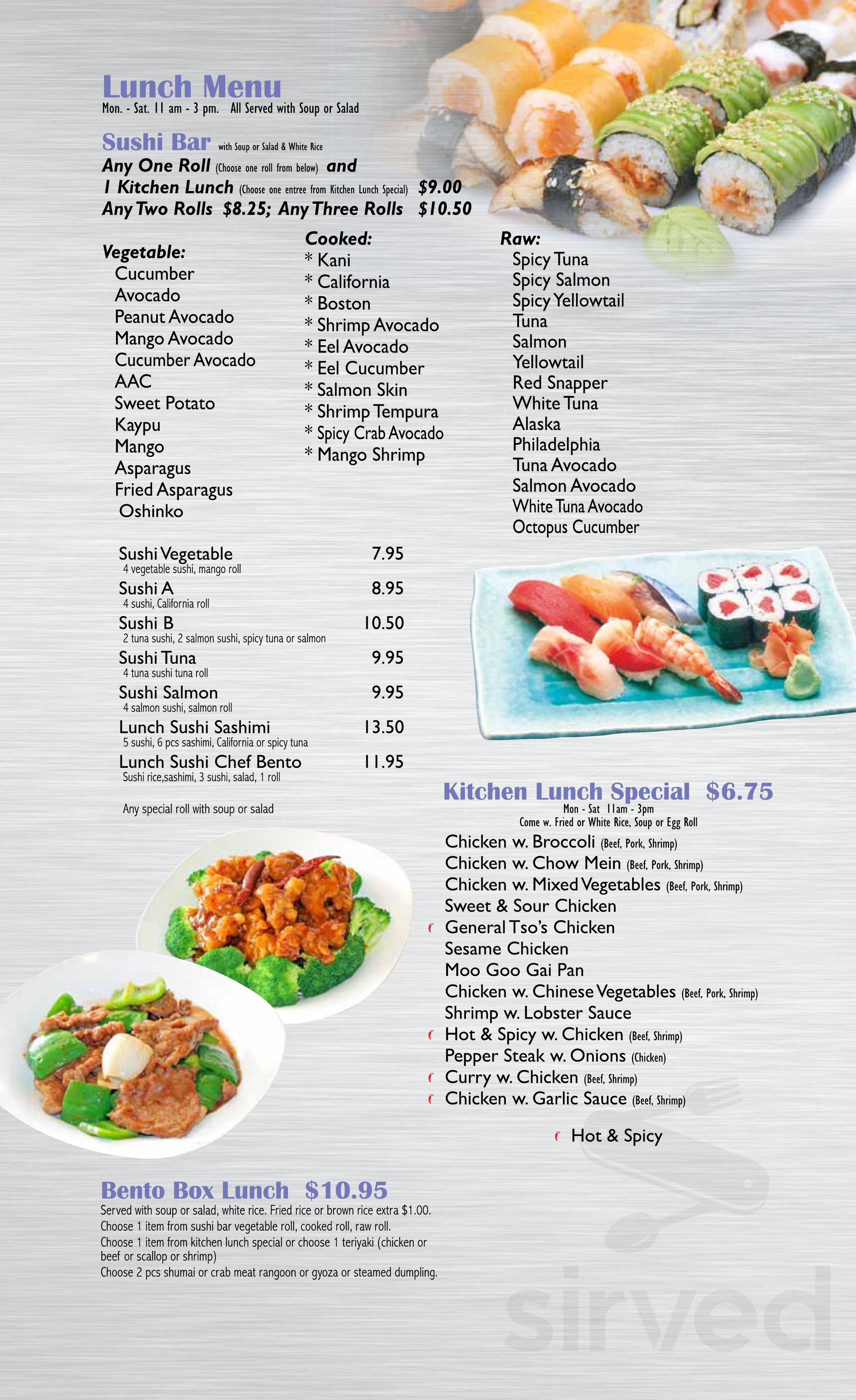 Menu For Asian Kitchen Sushi Bar In Carmel Indiana