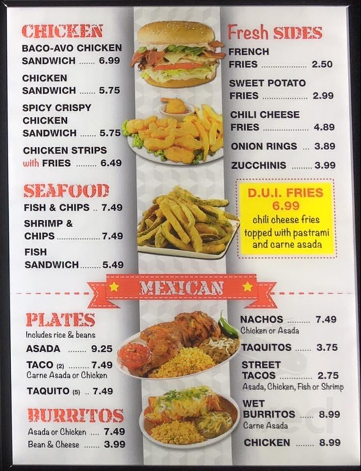 Menu For Victory Diner In Orange California Usa