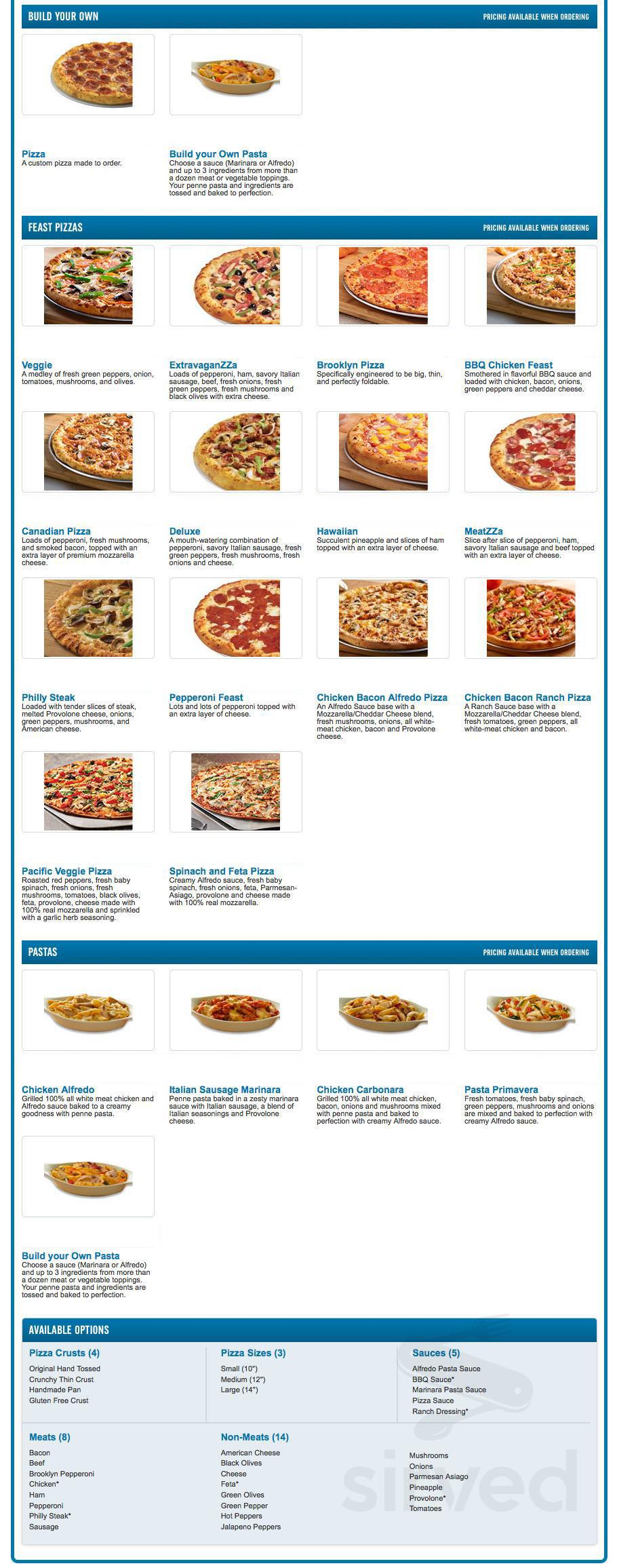 Menu For Dominos Pizza In Cambridge Ontario Canada