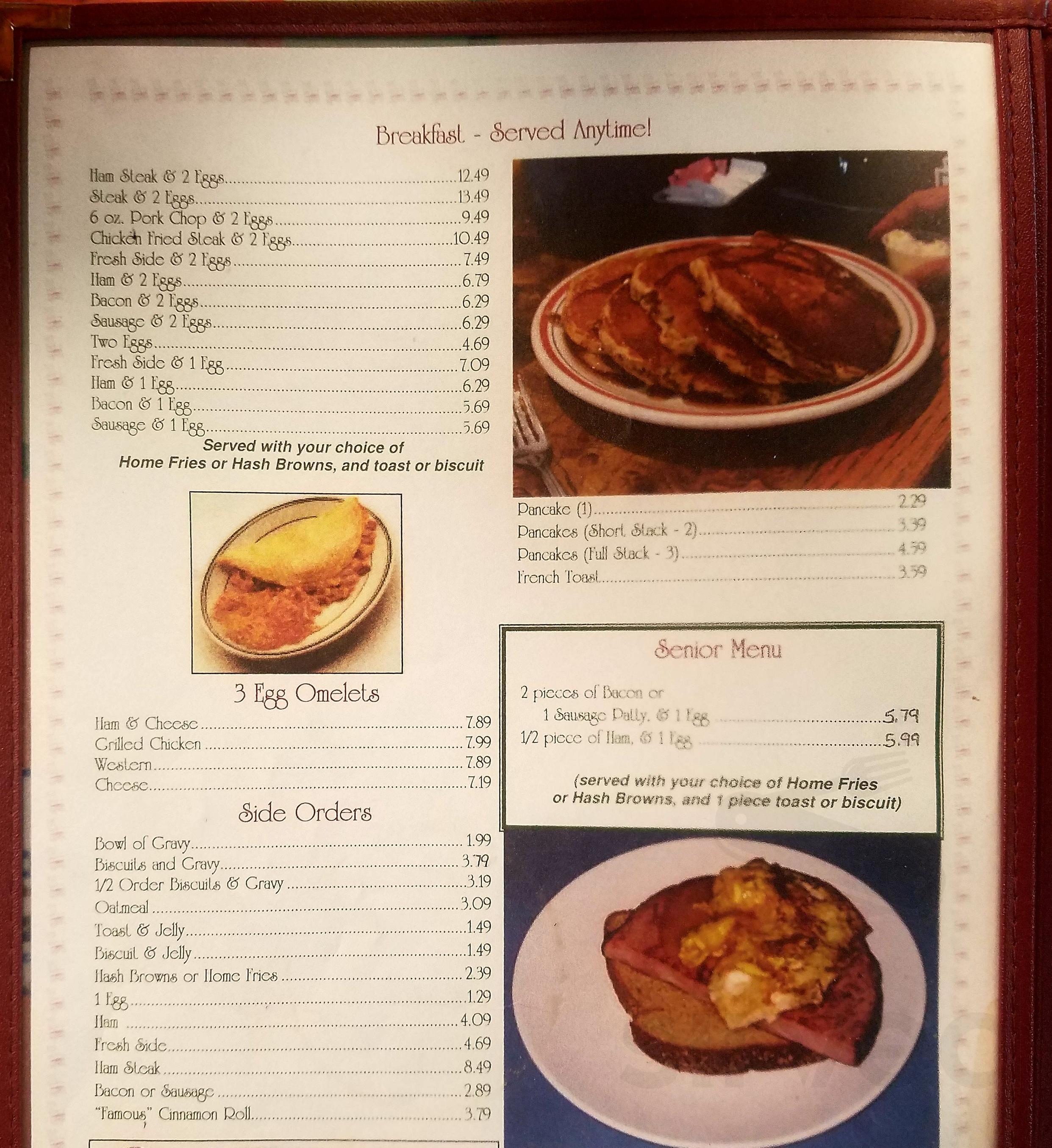 Rocking Chair Restaurant menu in Conway, Missouri, USA