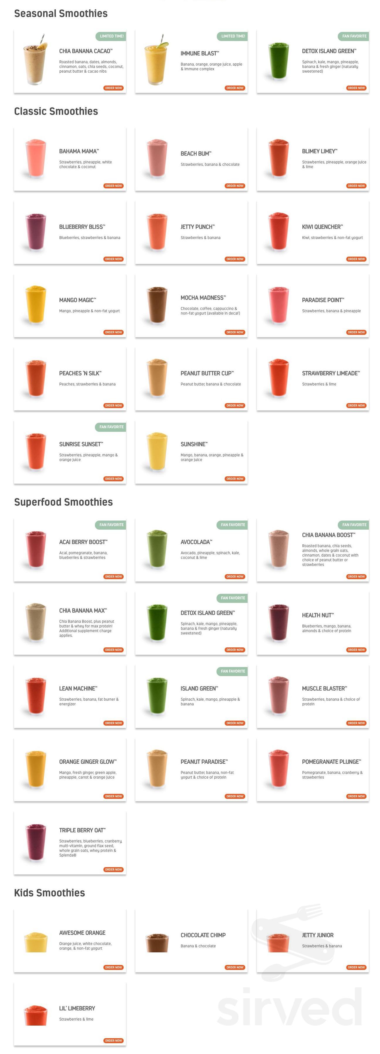 Tropical Smoothie Cafe Menu In Princeton New Jersey Usa