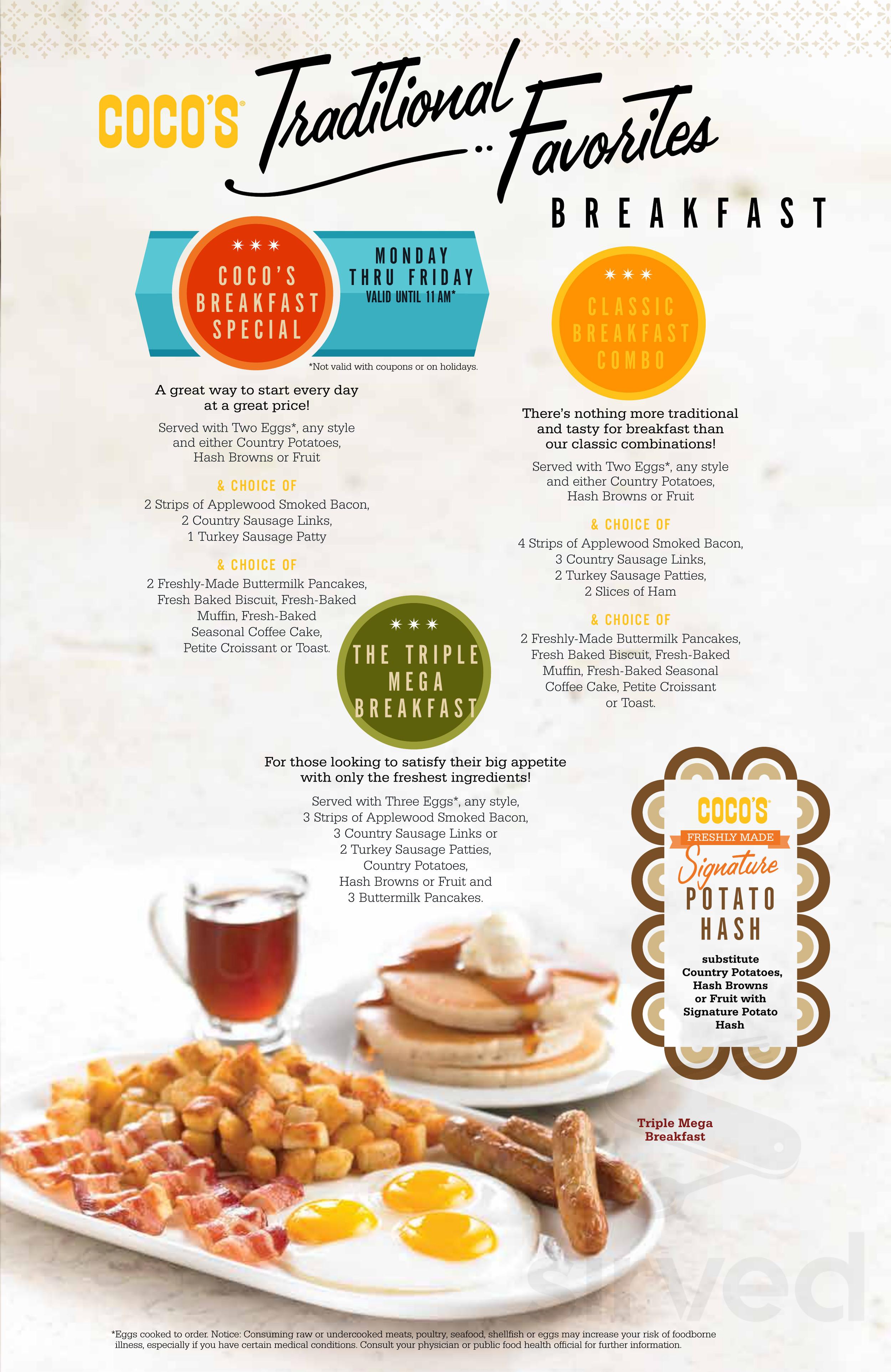 Menu For Coco S Bakery Restaurant In Covina California