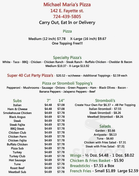 michael maria s pizza menu in uniontown pennsylvania pizza menu in uniontown pennsylvania