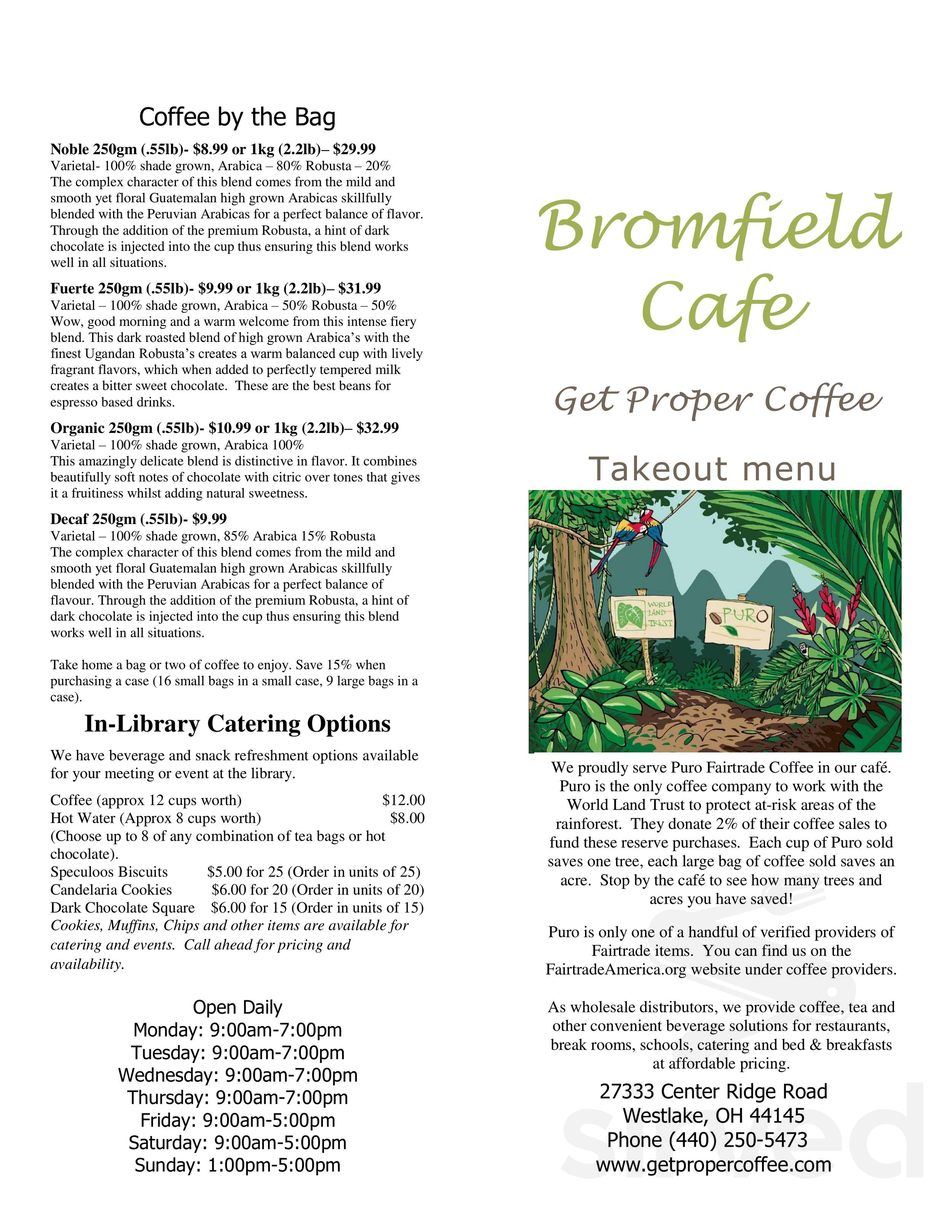 Menu For Bromfield Cafe At Westlake Porter Public Library In