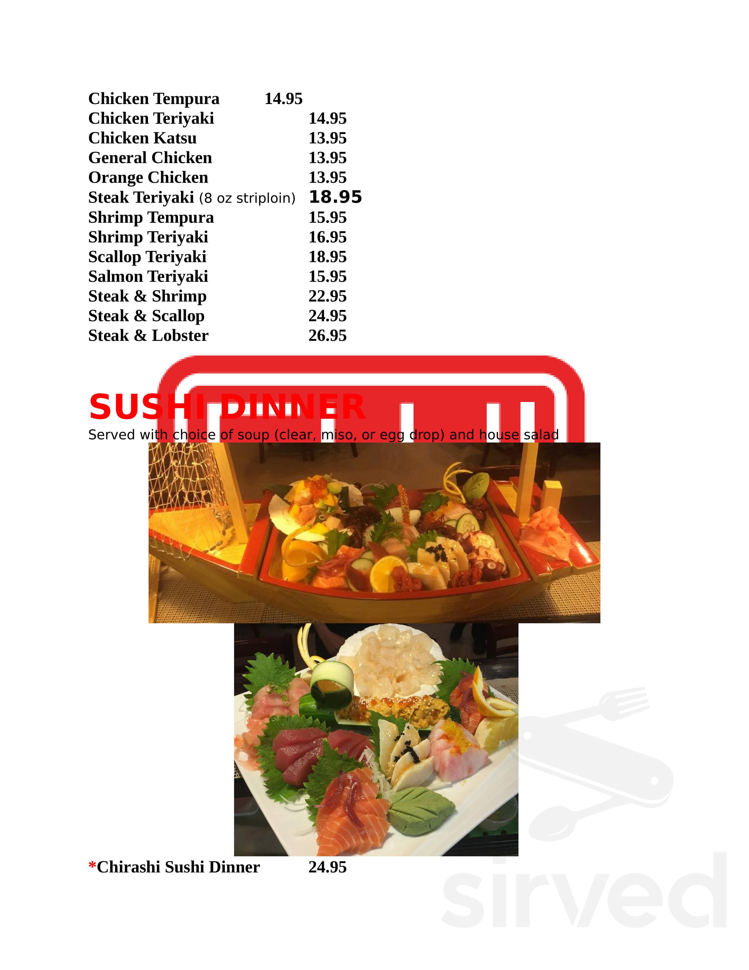 Fuji Sushi House Menu In Biloxi Mississippi Usa