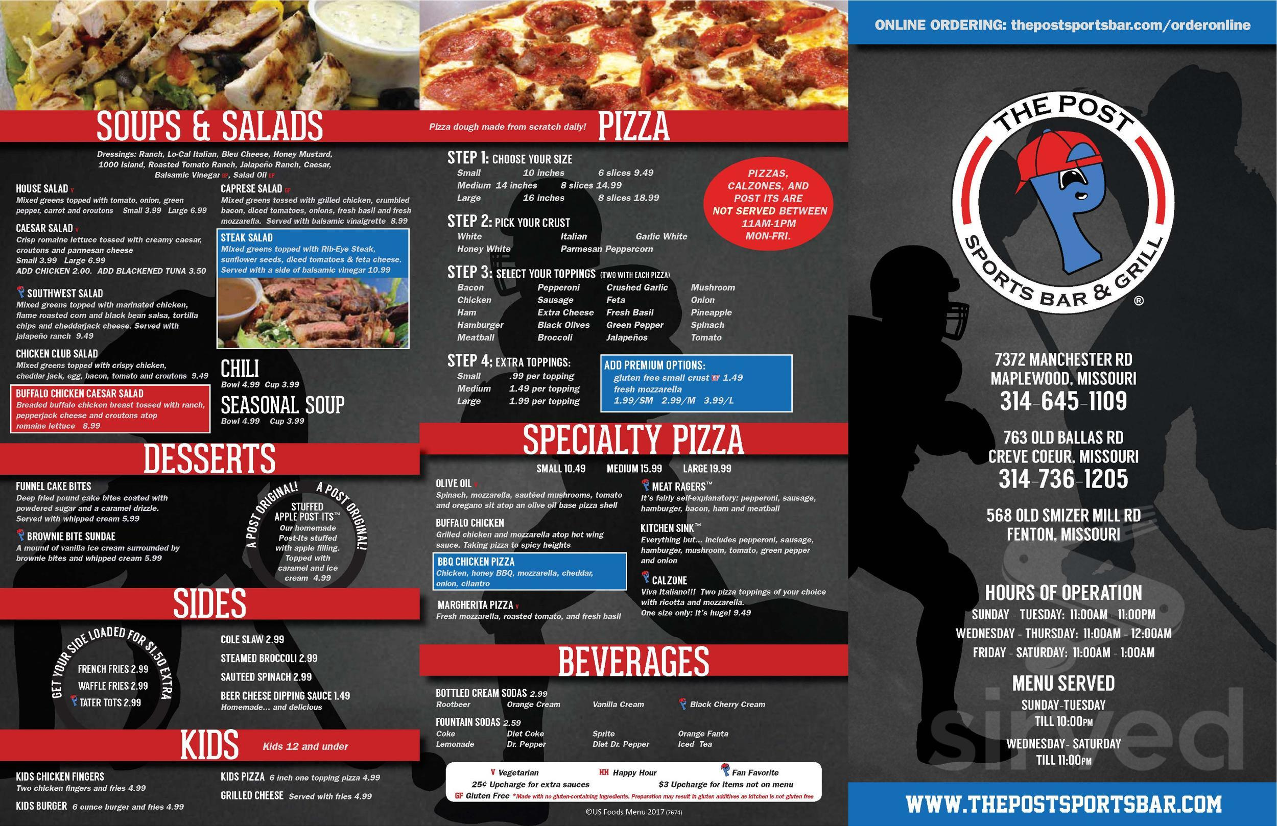 the post sports bar grill menu in maplewood missouri the post sports bar grill menu in