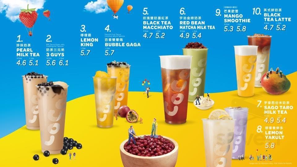 Menu for Coco Fresh Tea & Juice in Vancouver, British Columbia