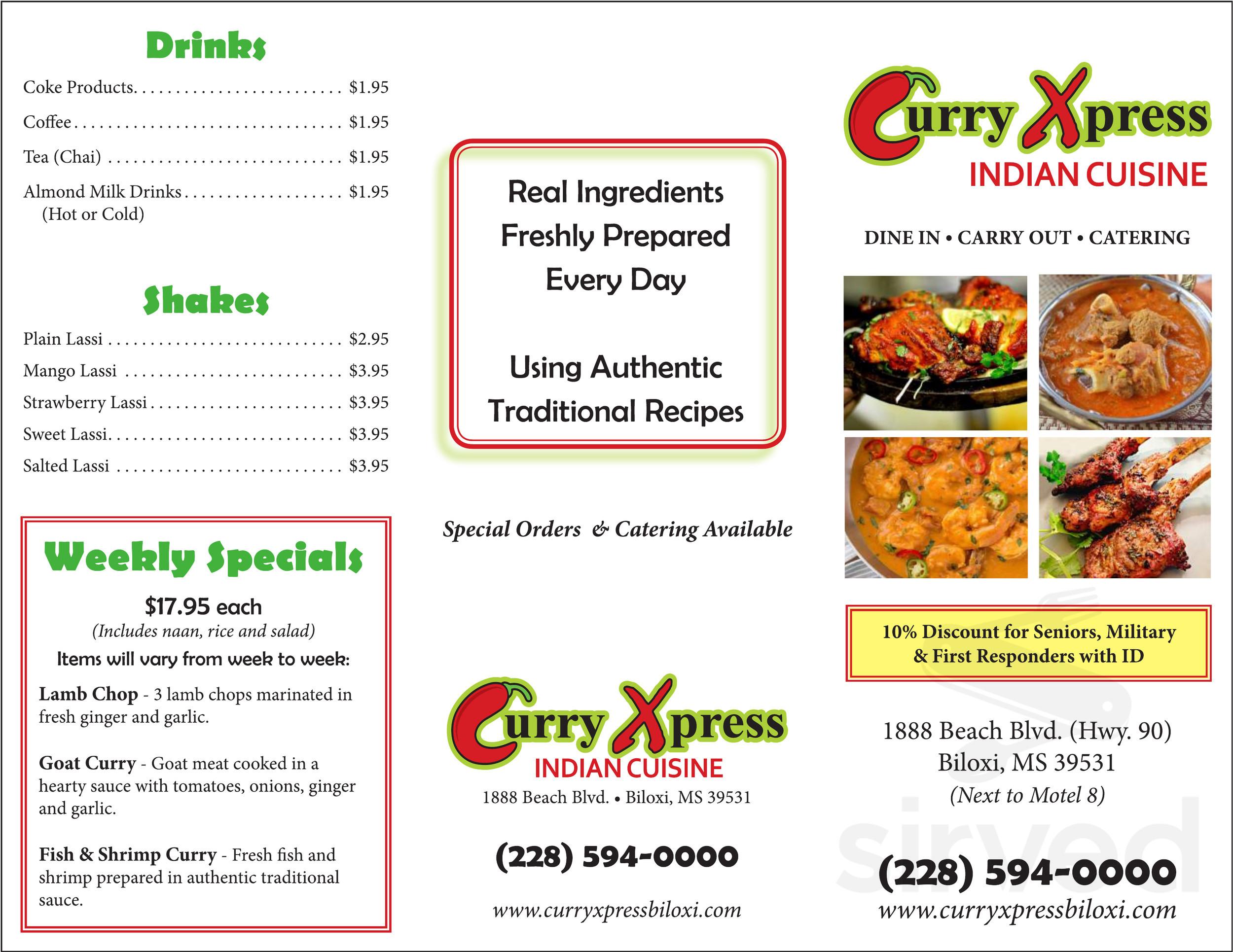 Curry Xpress Menu In Biloxi Mississippi Usa