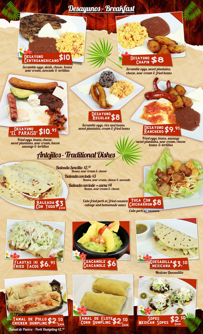 menu for el paraiso restaurant in plainfield new jersey rh sirved com
