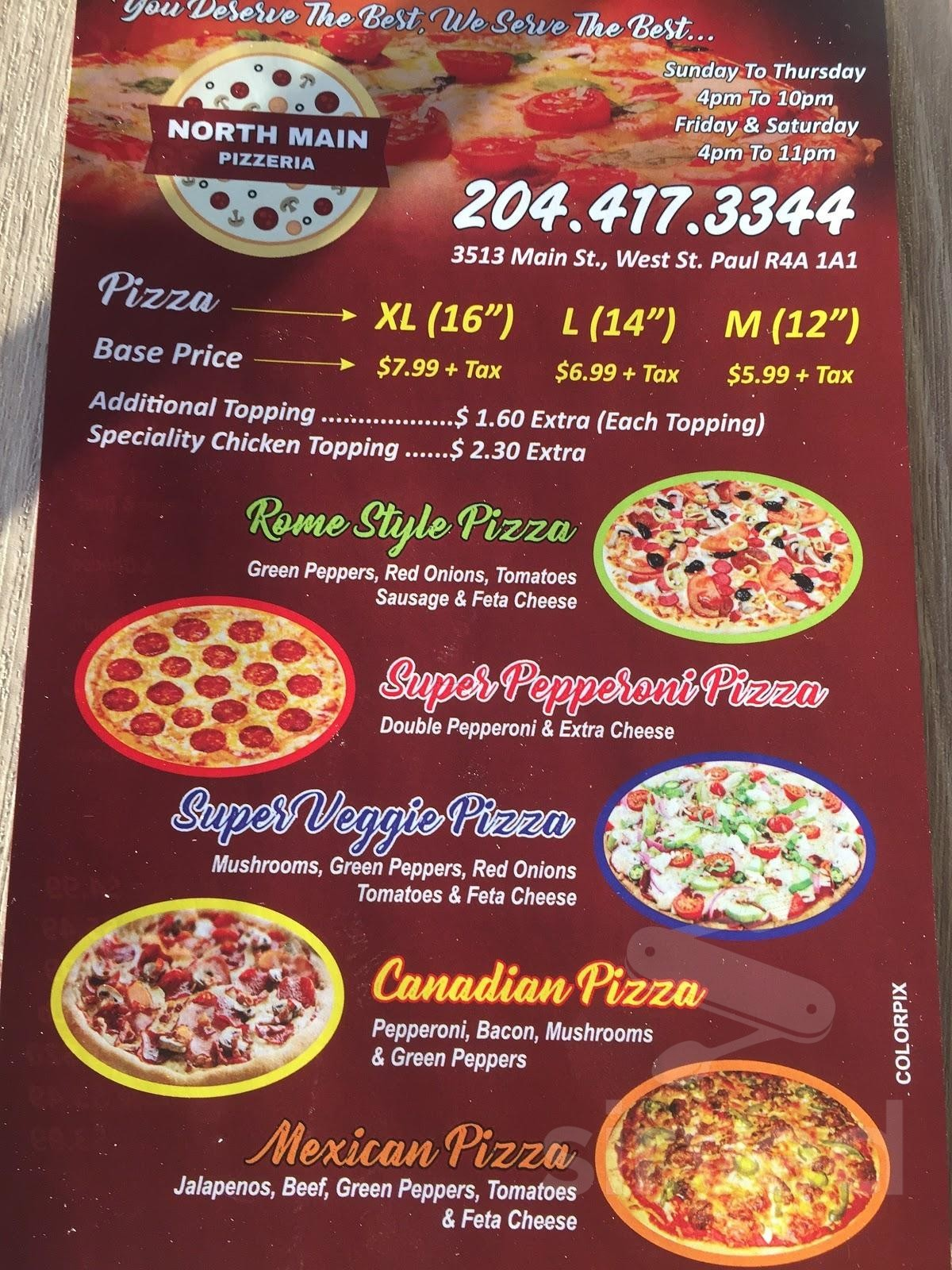North Main Pizzeria Menu In West Saint Paul Manitoba