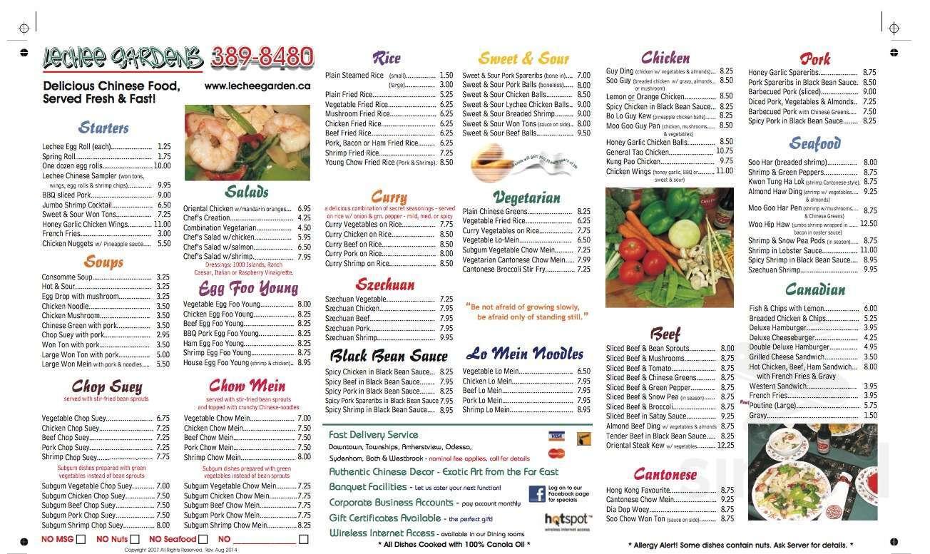 Lechee Garden Restaurant Tavern Menu In Kingston Ontario
